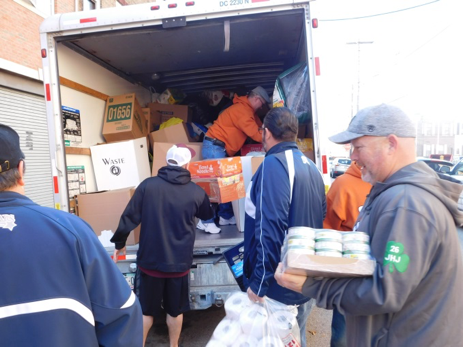 Food and supplies of all kinds were donated by the various Mummers groups and loaded onto a truck for a special delivery.
