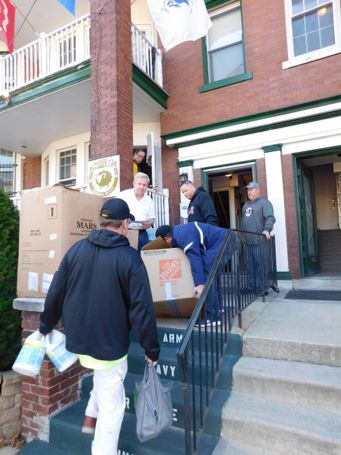 The Philadelphia Veterans House, in West Philadelphia, provides a safe haven as well as food, clothing, supplies and other comfort for needy veterans. The truckload of supplies was efficiently unloaded as volunteers at the Veterans House moved quickly to sort and organize the donated items.